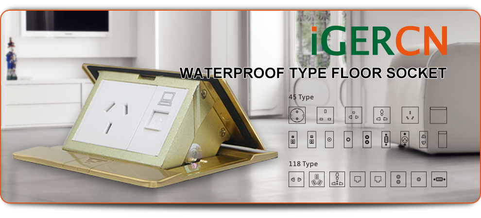elegant design Europe style IP44 Fast and soft pop up floor socket outlet box with EU socket HGD-2F/CC10