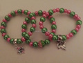 Sorority Charm Bracelet AKA pink and green Pearl with IVY charm for Alpha Kappaa Alpha bracelet set