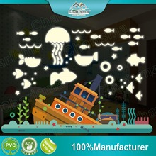 Glow in the dark wall sticker Fishes self adhesive home decor stickers