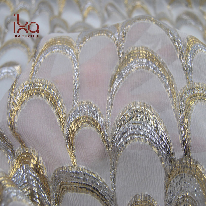 Wholesale Natural White Ombre Crinkle Georgette Golden Silver Metallic Silk Lurex Fabric