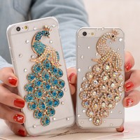 Peacock Diamond Mobile phone accessories soft TPU back Transparent with Plum flower pattern case cover for iPhone 6S/ 6/ plus