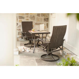 3 piece high back rattan swivel chairs and stone top outdoor bar table