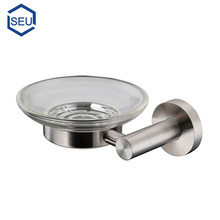 Hotel bathroom stainless steel ss metal and glass soap dish holder