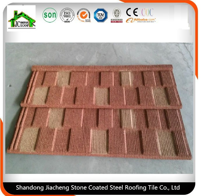Beige Red stone coated metal roofing tile