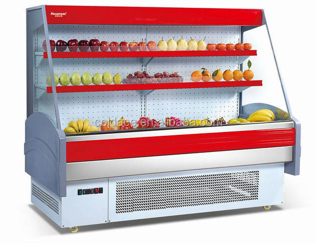 Supermarket fruit and vegetables display case with 3 layers
