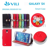 Vili DKS Style Flower Rhinestone Inlaid Flip Case Cover for Samsung Galaxy S4 i9500