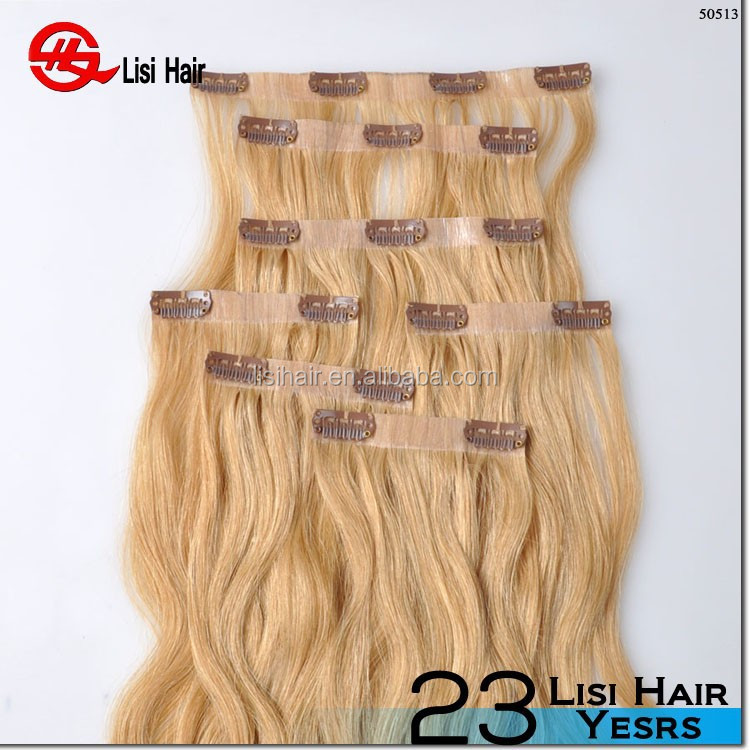oem package double weft double drawn cheap remy hair extension clip in human