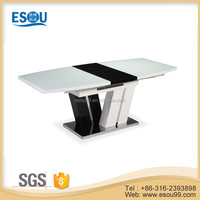 modern home furniture white glass mdf extended dining room table