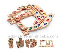 Wooden kids educational DIY Toys Color Crystal Dominoes