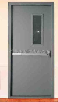 90 min AFOL fire rated steel door with push bar and vision panel