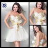 New Design Wholesale Custom Made Charming Mini Classy Sweetheart White Tulle Gold Appliqued Cocktail Dress C0088
