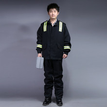 T/C 80*20 flame retardant black jacket&pant with reflective tape overalls