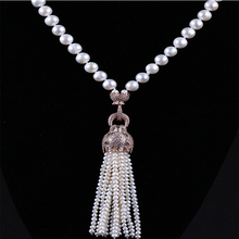 Plated Gold Leopard Head Shaped Pendant White Potato Pearl Tassels Necklace