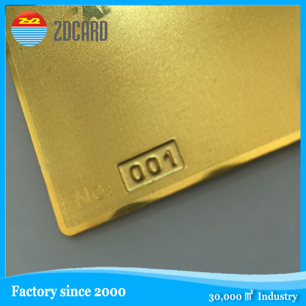 High quality custom polished gold plated embossed metal business cards