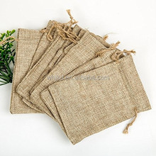 Plain blank jute burlap bag with string, small pouch with logo