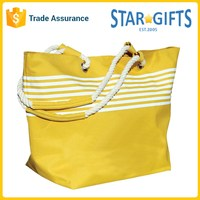 Custom Imprinted Polyester Stylish Striped Rope Handle Beach Tote Bags With Magnetic Snap Closure