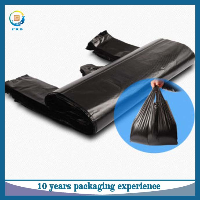 Factory price heavy duty black dog waste carrier t shirt plastic trash bag