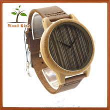 Wide Shell Without Calibration Black Stripe White Grain Fashionable Wooden Genuine Leather Quartz Luxury Trofish Watch Romanson