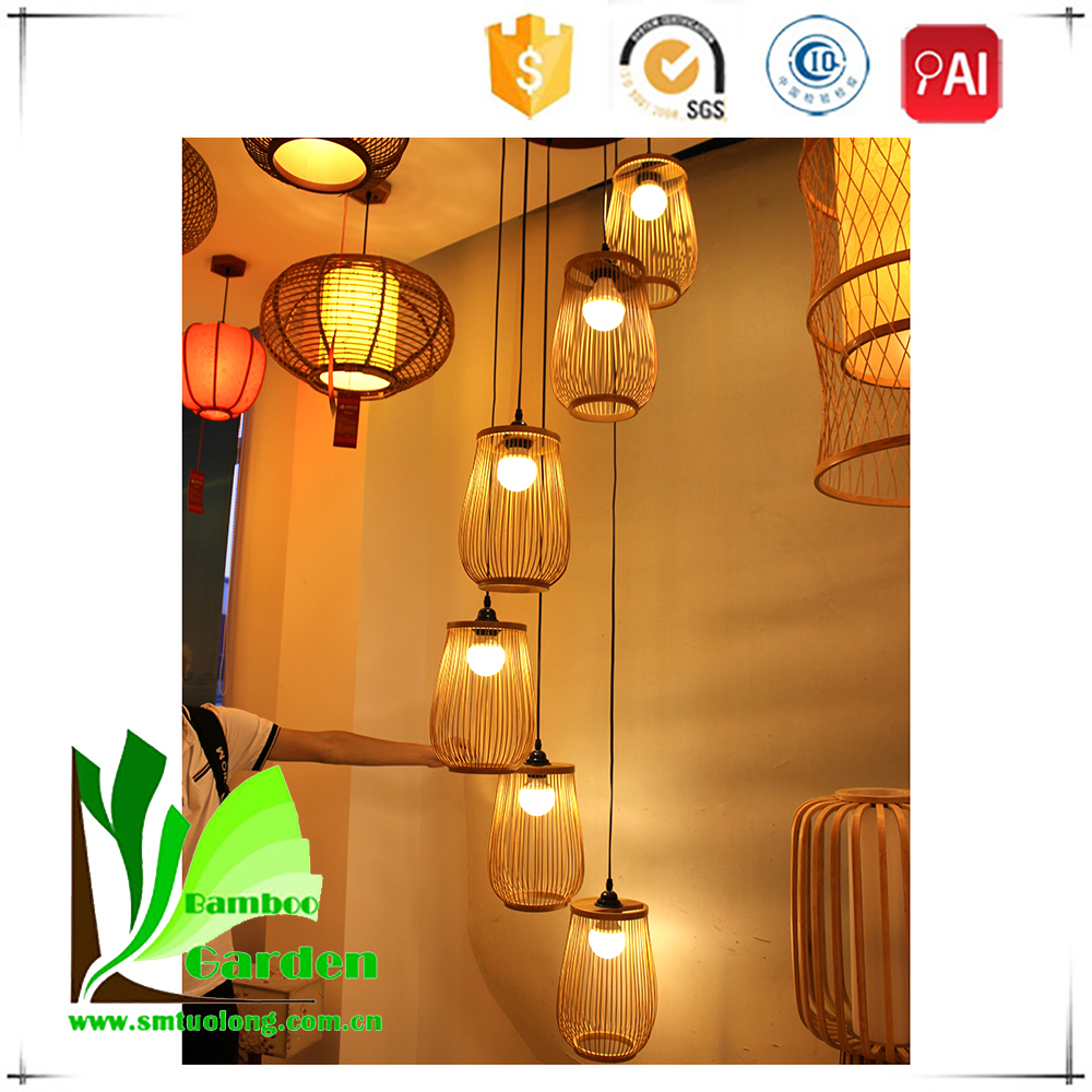 Eco-friendly Bamboo Indoor Hanging Antique Coffee Cup Lamp