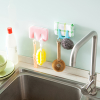 Sticky Wall Mounted Space-saving Plastic PP Kitchen Sponge and and Table Cloth Holder