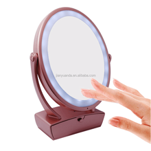 Table top rotating touch sensor vanity makeup mirror with light