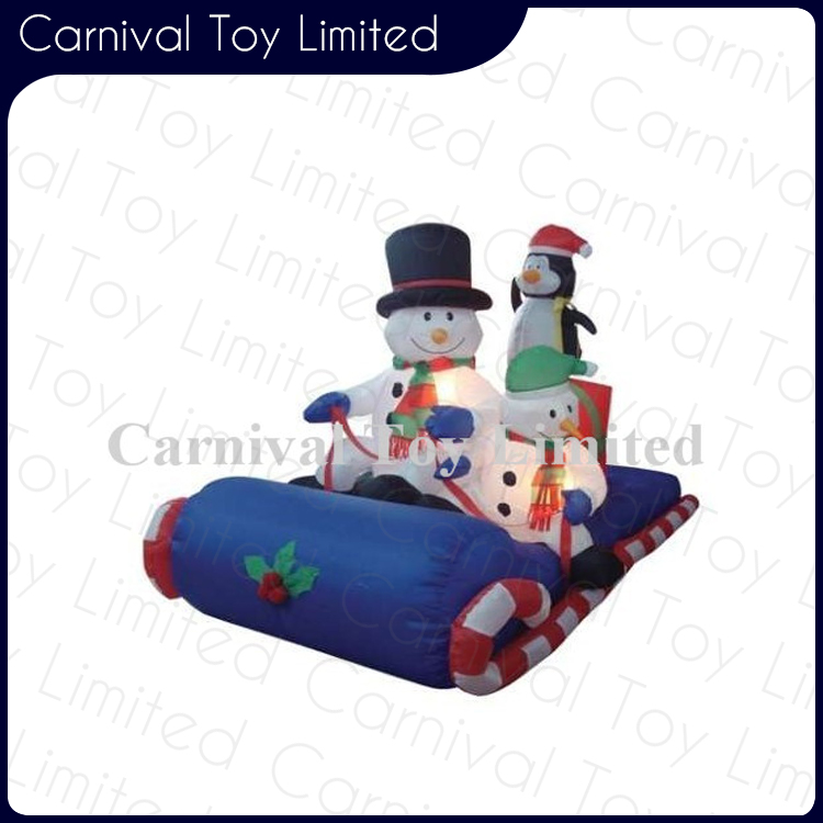 Inflatable Christmas Santa Claus Snowman Sleigh Air Blown Yard Decoration