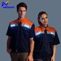 High visibility flashing built-in LED polo shirt