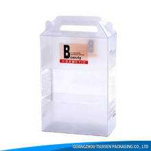 high quality plastic packaging box supplier PVC PE PET cosmetic plastic transparent box with handle