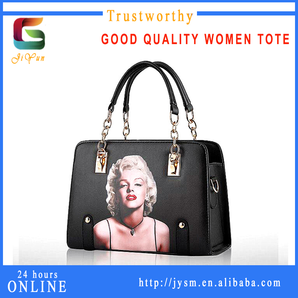 UK Magazine Popular Lady Printing Stylish Pattern Leather Handbag Women Office Shopping Bag Wholesale Pu Tote Bag