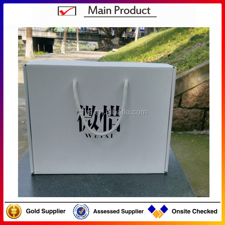 Customized foldable corrugated board shoe box with handle