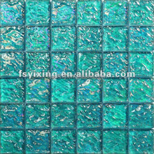 China suppliers blue iridescent coloured glaze glass mosaic tile for swimming pool