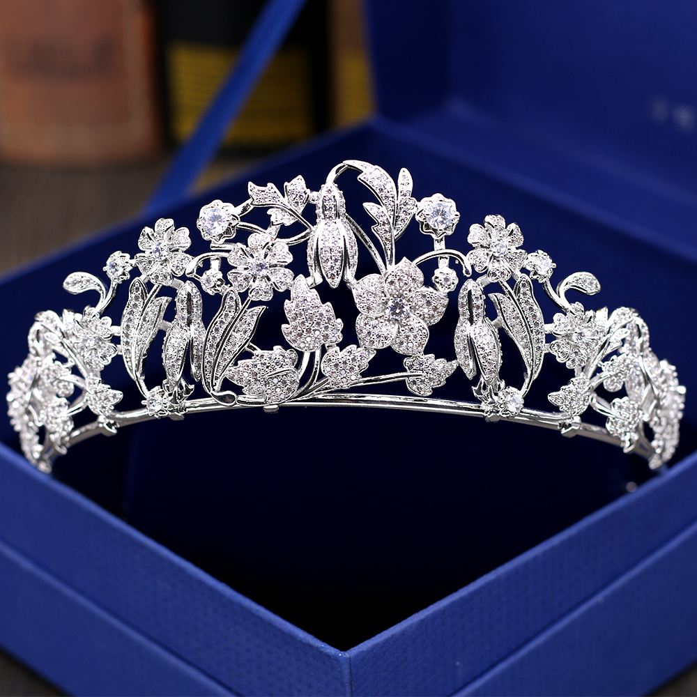 Crystal Zircon CZ Flower Bud Tiara <strong>Crown</strong> for Wedding Bridal Women Hair Accessories HG1191