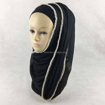 2016 new pearls chain edges cotton muslim scarf shawl islamic hijabs,can choose colors size 180cm x 70cm QK025