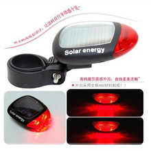 Solar Bicycle taillights / mountain bike 2LED warning light / bicycle riding equipment accessories power security