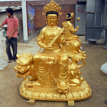 life size religious metal bronze casting buddha riding on lion for temple