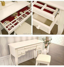 2016 lasted model Simple Pretty design makeup desk /dressing table with stool / jewelry cabinet