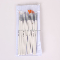 15pcs Wooden Nail Dust Art Brush Set