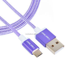 nylon Braided Aluminum Alloy Cover Slim micro usb cable for Sumsung