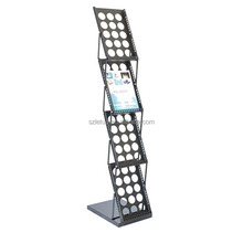 Brochure Magazine Catalog Literature Display Holder Rack Folding Stand 4 Pockets for Trade Show Office and Retail store