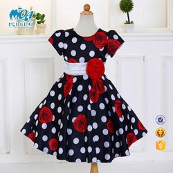 2017 Latest Fancy Girl Print Wave Point Country Style Casual Daily Dress Children Frock Design LM132