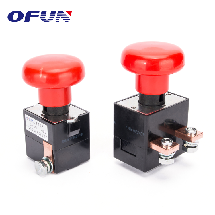 OFUN High Quality 250A 125A 80V Mini Emergency Push Button Switch
