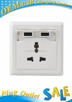 China With Protection Shell USB Wall Socket Plate Outlet with 1 AC Outlets and Dual USB Ports-white