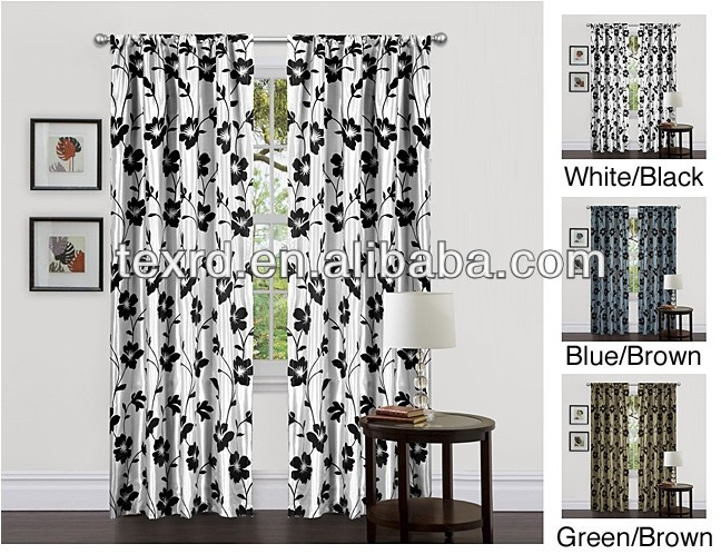 Lush Flocking Garden Blossom Faux Silk Taffeta Window Curtain