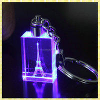 Personalized Led Light Eiffel Tower Crystal Keychains With Laser Engraving 3D Image