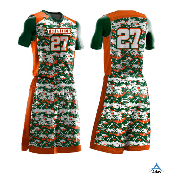 custom made reversible orange camo printing basketball uniforms