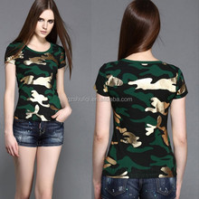 Fashion leisure tops new model t shirts ladies girl polyester camo loose fit wear t shirt women athletic creative quick dry tee