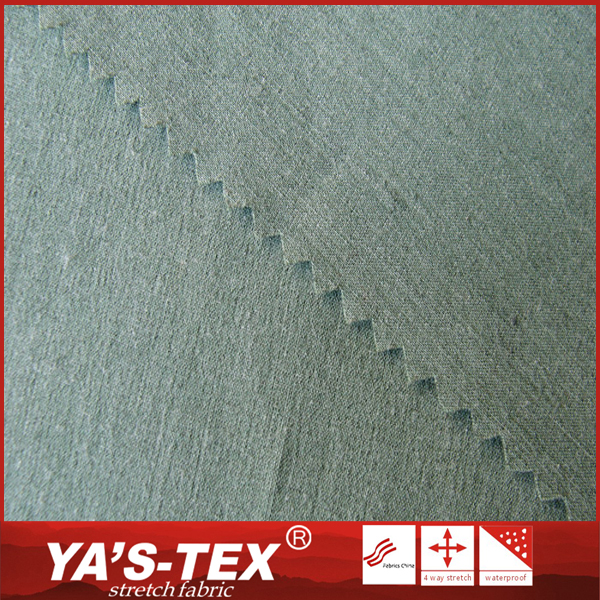 China manufacturer green dyed stretch woven polyester bamboo fabric