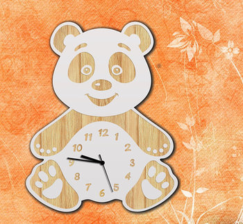 Wooden panda wall clock for kid's birthday gift