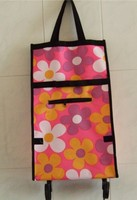 portable rolling grocery custom folding shopping tote bag with wheels