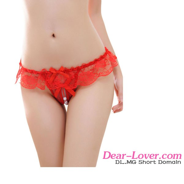 2016Wholesale Red transparent Sheer Lace Ruffle Open Crotch bead g-string sexy underwear